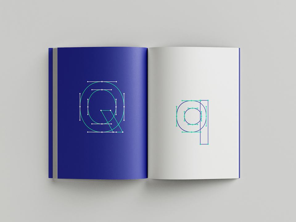 "A spread in the book showing the construction of the ""Q"" letterform"